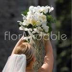 Bouquet cascante con orchidee bianche