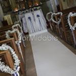 Addobbo panche con cuoricini floreali di velo da sposa