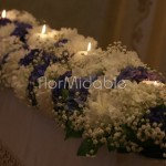 Composizioni morbide e voluminose con ortensie e velo da sposa