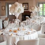 Calici Martini per ricevimento elegante con fioriture bianche