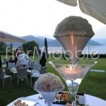 Addobbo elegante tavoli buffet con calici Martini