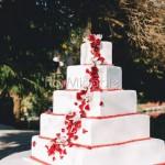 decorazione tavolo torta e wedding cake con rose rosse