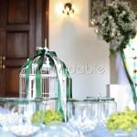 Addobbi floreali e accessori decorativi per il tavolo della confettata romantico