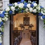 Arco floreale per matrimonio religioso con ortensie blu